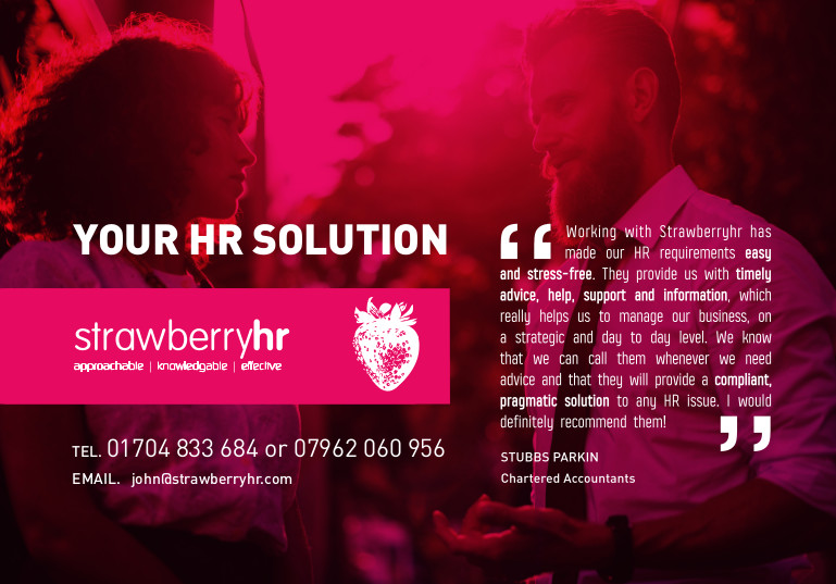 Strawberry HR Solutions advert with red tint